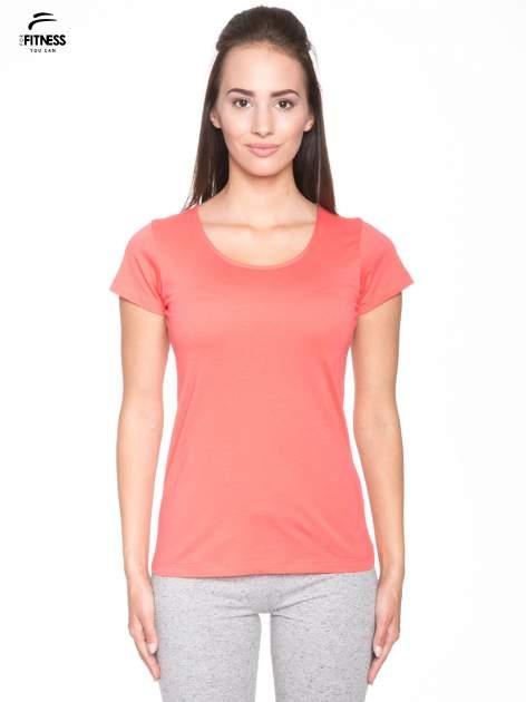 Koralowy bawełniany t-shirt damski typu basic                                  zdj.                                  1