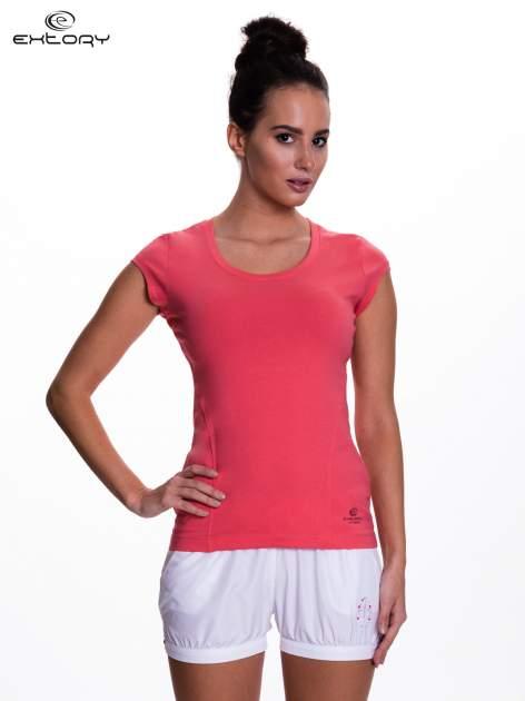 Koralowy damski t-shirt sportowy basic                                  zdj.                                  1