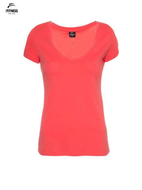 Koralowy gładki t-shirt z dekoltem w serek                                  zdj.                                  5