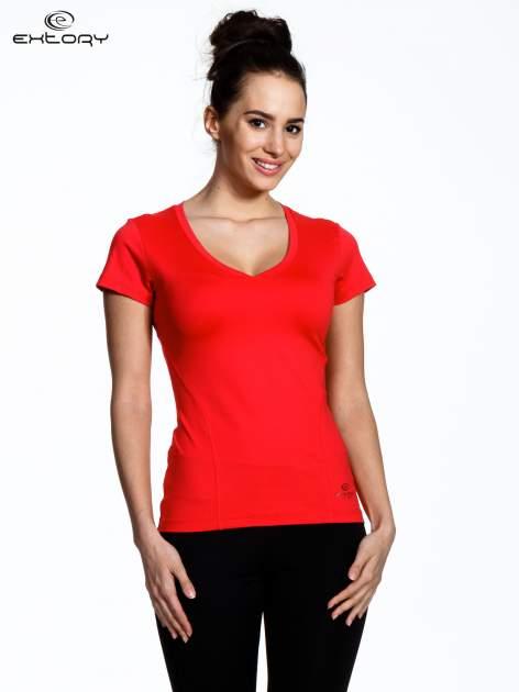 Koralowy modelujący damski t-shirt sportowy                                   zdj.                                  1