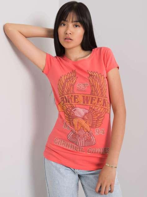 Koralowy t-shirt z aplikacją Haley