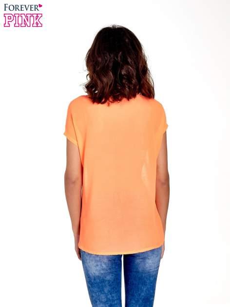 Koralowy t-shirt z kryształkami                                  zdj.                                  4