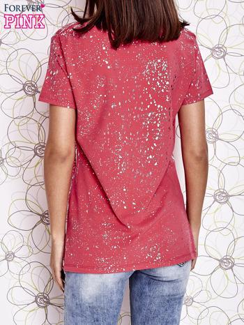 Koralowy t-shirt z napisem BONJOUR                                  zdj.                                  2