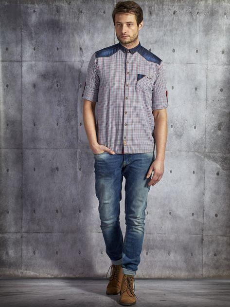 Koszula męska w drobną kolorową kratkę wielokolorowa PLUS SIZE                              zdj.                              4