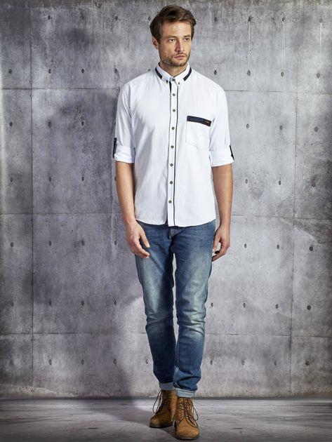 Koszula męska z kieszenią biała PLUS SIZE                              zdj.                              4