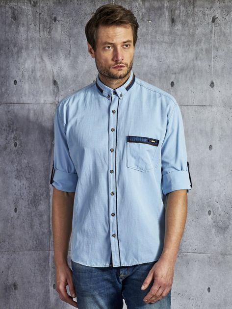 Koszula męska z kieszenią jasnoniebieska PLUS SIZE                              zdj.                              1