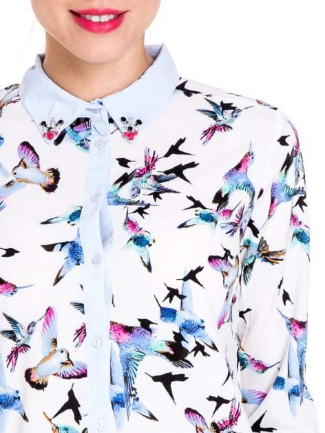 Koszula w kolibry z błękitnym kołnierzykiem, mankietami i listwą                                  zdj.                                  7