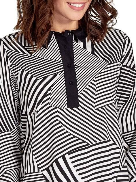 Koszula w zebrę z kontrastowymi mankietami i listwą                                  zdj.                                  5