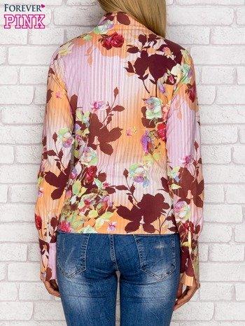Koszula z nadrukiem kwiatów i pasków fioletowa                              zdj.                              2