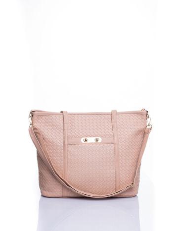 Kremoowa pleciona torba shopper bag ze złotym detalem                                  zdj.                                  1