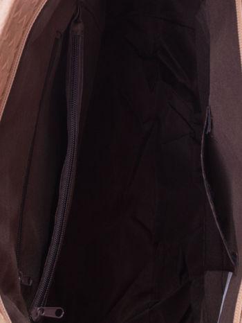 Kremoowa pleciona torba shopper bag ze złotym detalem                                  zdj.                                  5