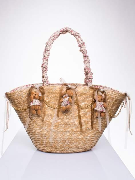 Kremowa torba koszyk plażowy w stylu romantic