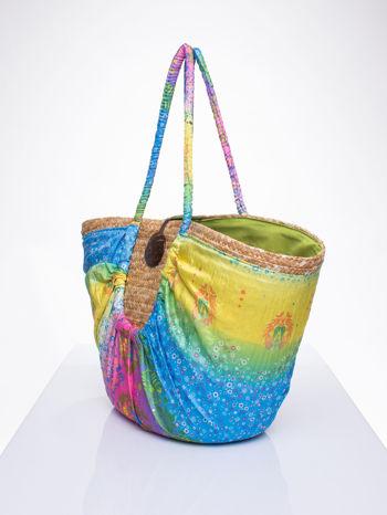 Kremowa torba koszyk plażowy z łączonych materiałów                                  zdj.                                  2