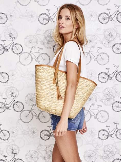 Kremowa torba koszyk plażowy ze skórzanymi rączkami
