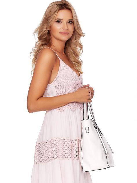 Kremowa torba shopper z ażurowaniem i odpinanym paskiem                              zdj.                              4