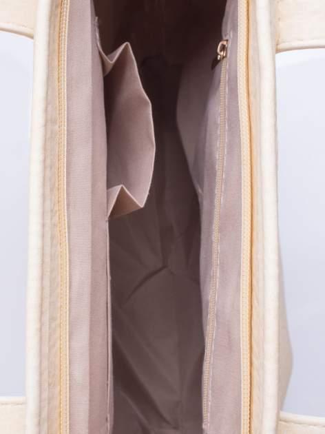 Kremowa torebka shopper bag z kokardką                                  zdj.                                  5