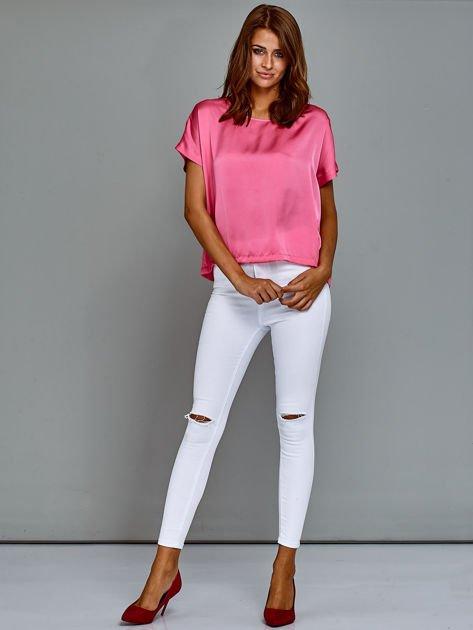 Krótki t-shirt oversize różowy                                  zdj.                                  4
