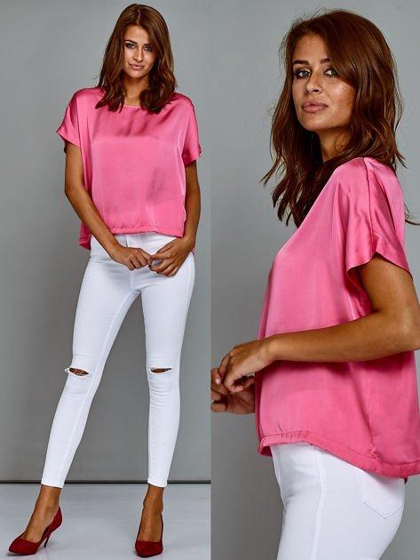 Krótki t-shirt oversize różowy                                  zdj.                                  1