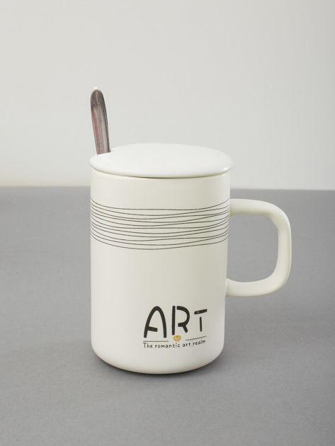 Kubek biały ceramiczny z pokrywką                              zdj.                              1