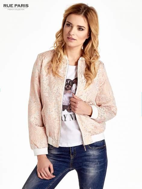 Kurtka bomber jacket z żakardowego materiału przeplatanego nicią w kolorze różowego złota                                  zdj.                                  7