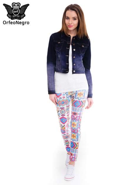 Kurtka jeansowa damska z efektem ombre w kolorze granatowym                                  zdj.                                  2