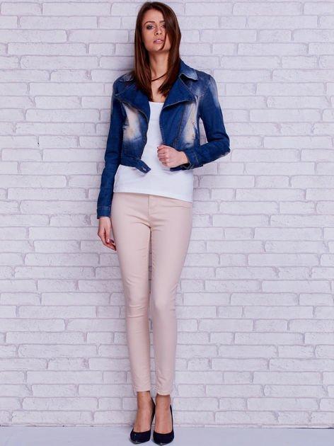 Kurtka jeansowa ramoneska z przetarciami niebieska                                  zdj.                                  4