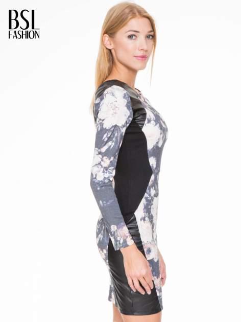 Kwiatowa sukienka modułowa z panelami ze skóry                                  zdj.                                  3