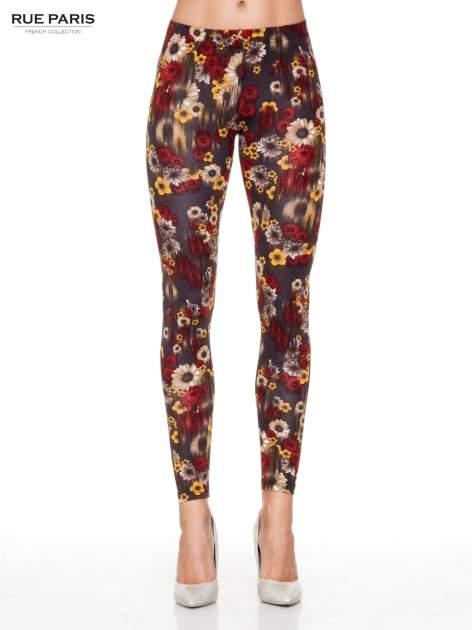Kwiatowe legginsy w kolorze brązowym
