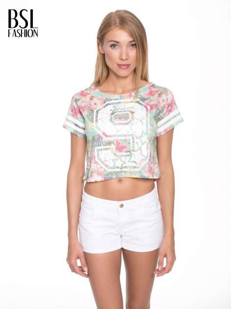 Kwiatowy t-shirt typu crop top z numerkiem                                  zdj.                                  1