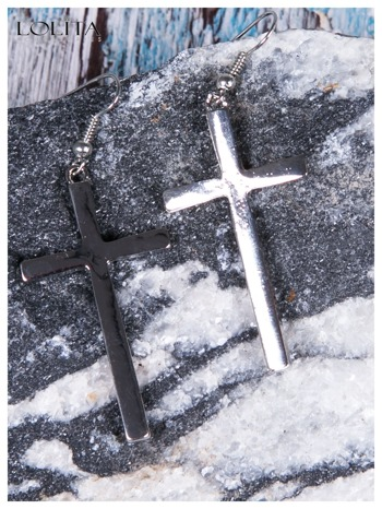 LOLITA Kolczyki srebrne krzyże DUŻE