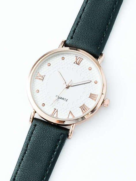 LOVE czarny zegarek damski z przepięknymi wzorami na tarczy