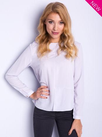 Liliowa koszula z przeszyciami i łezką z tyłu                                  zdj.                                  2