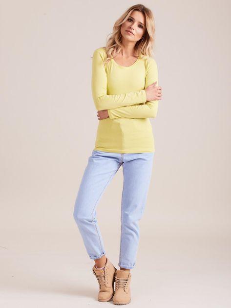 Limonkowa bluzka z długim rękawem                              zdj.                              4