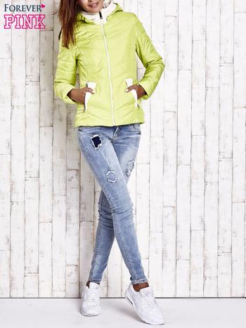 Limonkowa pikowana kurtka z jasnym wykończeniem                                  zdj.                                  8