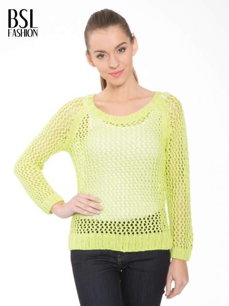 Limonkowy siatkowy sweter