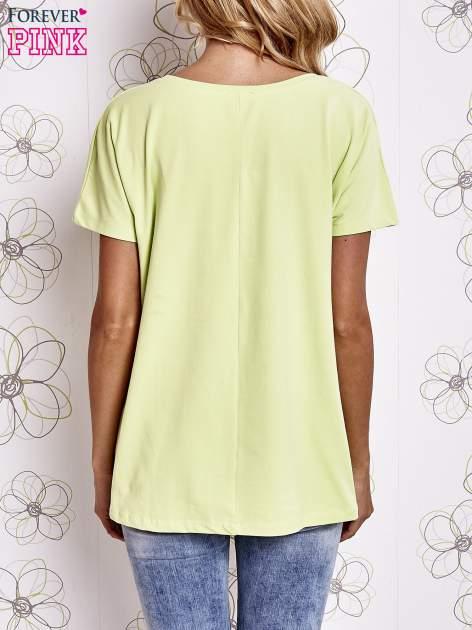 Limonkowy t-shirt z napisem LIU J❤                                  zdj.                                  4