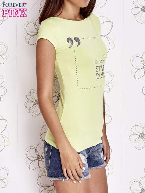 Limonkowy t-shirt z napisem STOP DREAMING START DOING                                  zdj.                                  3