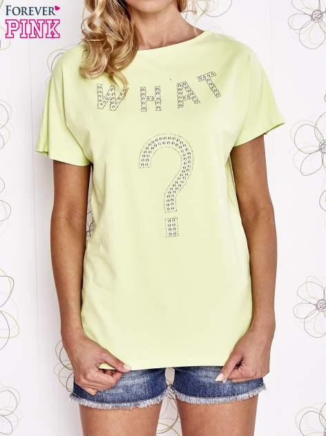 Limonkowy t-shirt z napisem i trójkątnym wycięciem na plecach                                  zdj.                                  1