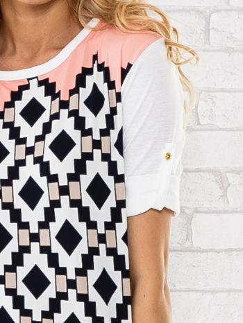 Łososiowa bluzka w azteckie wzory                                  zdj.                                  5