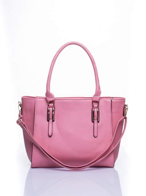 Łososiowa torba shopper bag z odpinanym paskiem                                  zdj.                                  1