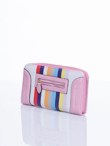 Łososiowy portfel w paski z kieszonką                                  zdj.                                  3