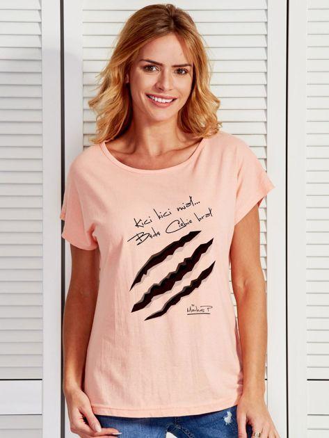 Łososiowy t-shirt damski KICI KICI MIAŁ by Markus P                                  zdj.                                  1