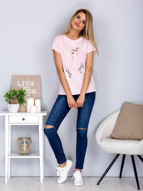 Luźny t-shirt z futrzanymi flamingami jasnoróżowy                              zdj.                              4