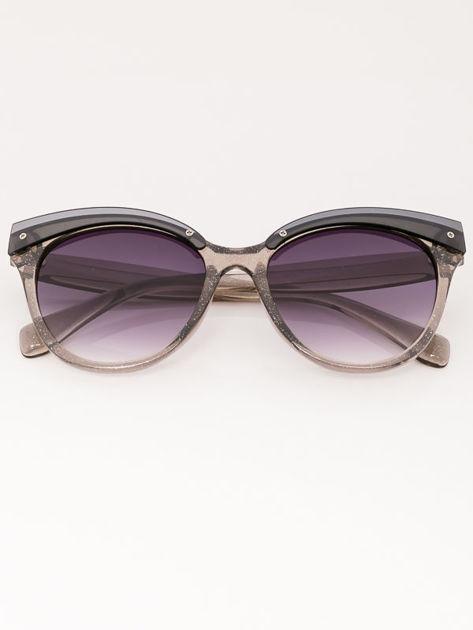 MANINA Okulary przeciwsłoneczne damskie szare z brokatem szkło szaro-fioletowe dymione                              zdj.                              2