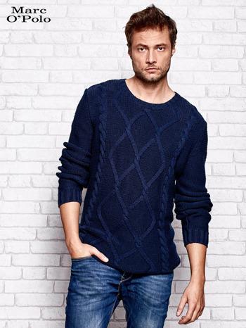 MARC O'POLO Granatowy sweter męski z warkoczowym splotem                                  zdj.                                  1
