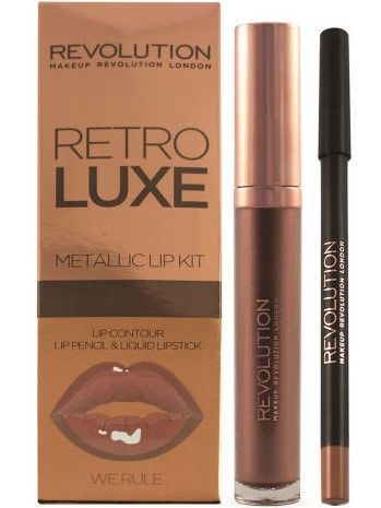 Makeup Revolution Retro Luxe Metallic Lip Kit Zestaw do ust konturówka 1g + pomadka w płynie 5,5ml We Rule                              zdj.                              1