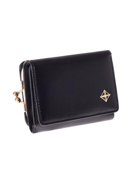 Mały czarny portfel damski z kieszonką na bigiel                              zdj.                              6