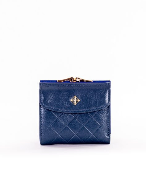Mały elegancki ciemnoniebieski portfel damski na bigiel