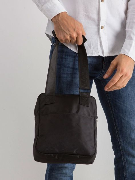 Materiałowa torba męska czarna                              zdj.                              2