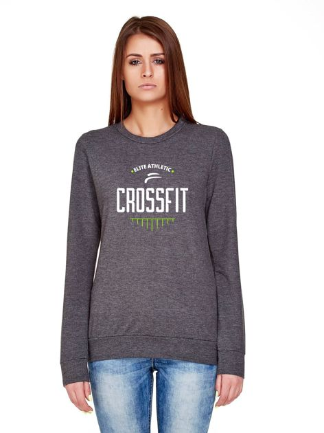 Melanżowa bluza z napisem CROSSFIT grafitowa
